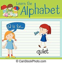 q, flashcard, calme, lettre
