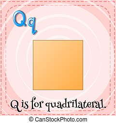 q, flashcard, quardrilateral, lettre