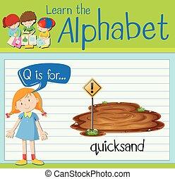 q, flashcard, quicksand, lettre
