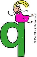q, girl, lettre