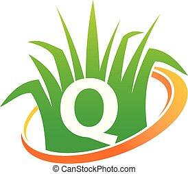 q, pelouse, initiale, centre, soin