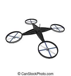 quadcopter, éloigné, isolé, bourdon, contrôlé, blanc