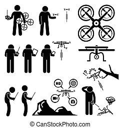 quadcopter, bourdon, régler, homme