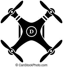 quadcopter, vecteur, noir, rc, bourdon