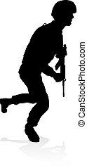 qualité, élevé, silhouette, détaillé, soldat