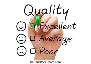 qualité, évaluation, excellent