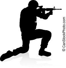 qualité, détaillé, silhouette, soldat, élevé