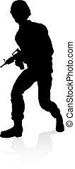 qualité, soldat, silhouette, détaillé, élevé