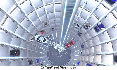 qualité, system., 4k, animation., stationnement, voiture, élevé, automatisé