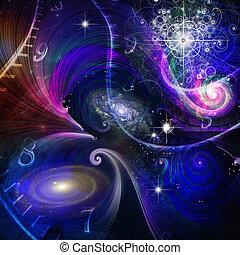 quantum, espace, physique, temps