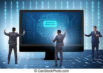 quantum, homme affaires, concept, calculer