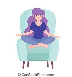 quarantaine, chaise, girl, isolement, coronavirus, activités, maison, pose, yoga, séjour, méditation, soi