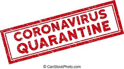 quarantaine, encadré, rectangle, grunge, timbre, coronavirus, double