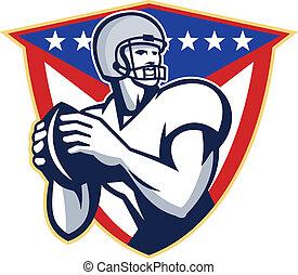 quartback, football américain, jeter, balle