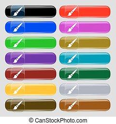 quatorze, ensemble, signe., text., boutons, verre, vecteur, endroit, brosse, multi-coloré, icône