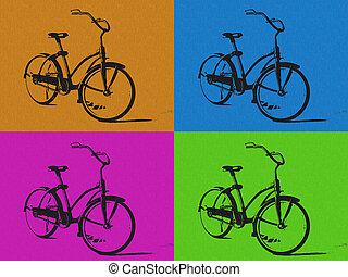 quatre, art, pop, style, colors., vélo, image