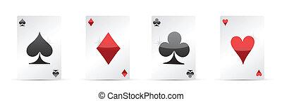 quatre as, poker, jouer, cartes.