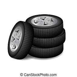 quatre, auto, roues