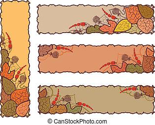 quatre, automne, bannières, ensemble