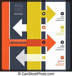 quatre, bannière, options, infographics
