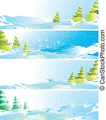 quatre, bannières, ensemble, paysage hiver