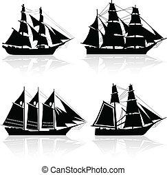 quatre, bateau, vecteur, vieux, silhouettes