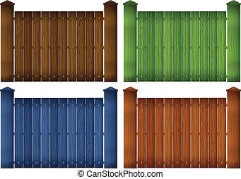 quatre, bois, barrières, coloré