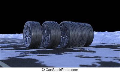 quatre, boucle, canal, route, neigeux, voiture, conduire, alpha, roues