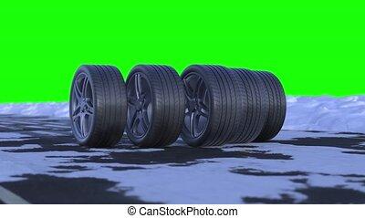 quatre, boucle, vert, route, neigeux, fond, voiture, conduire, roues