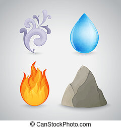 quatre, brûler, air, -, élément, eau, la terre