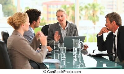 quatre, business, discusion, entre, peo
