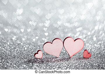 quatre, cœurs, scintillements