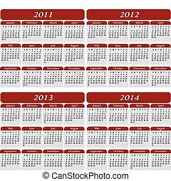 quatre, calendrier, rouges, année
