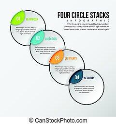 quatre, cercle, infographic, piles