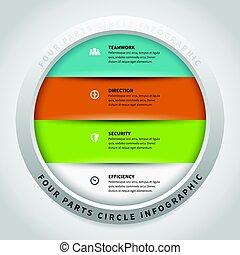 quatre, cercle, parties, infographic