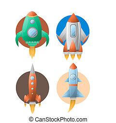 quatre, cercles, ensemble, fusées, blanc, coloré, contre