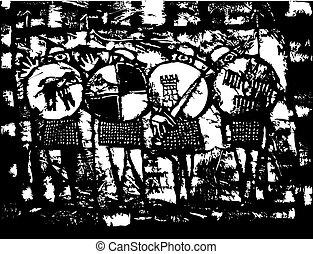 quatre, chevaliers, saxon