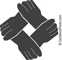 quatre, collaboration, mains