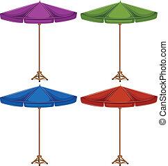quatre, coloré, parapluies