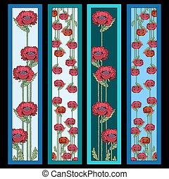 quatre, coquelicots, ensemble, fleurs, bookmarks