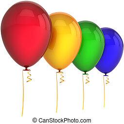 quatre, couleurs, anniversaire, ballons