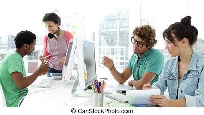 quatre, créatif, travailler ensemble, concepteur