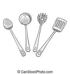 quatre, cuisine, outils