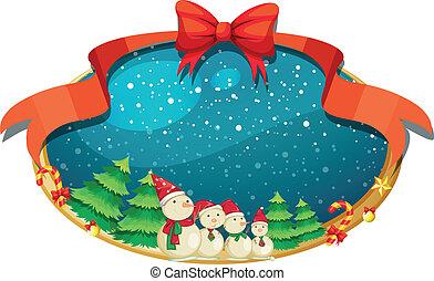 quatre, décor, snowmen, noël
