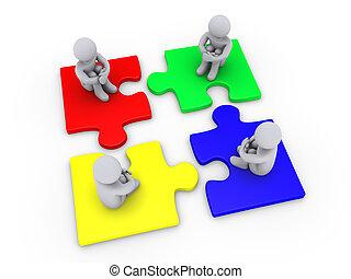 quatre, différent, morceaux, puzzle, solution