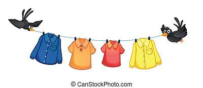 quatre, différent, vêtements, oiseaux, pendre