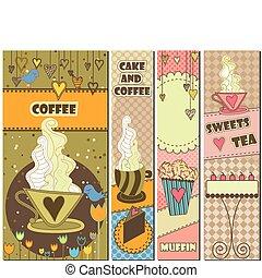 quatre, doux, café, bannières, dessert