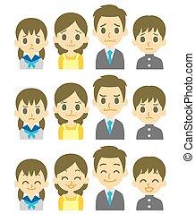 quatre, expressions, famille