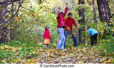 quatre, feuilles, bois, jeter, famille