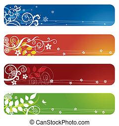quatre, floral, bannières, bookmarks, ou